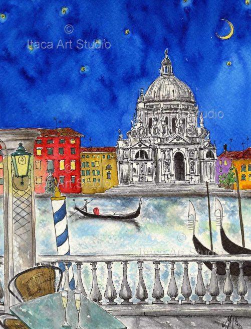 Il Canal Grande Vista Sulla Basilica Della Salute Dalla Terrazza Dell Hotel Europa E Regina
